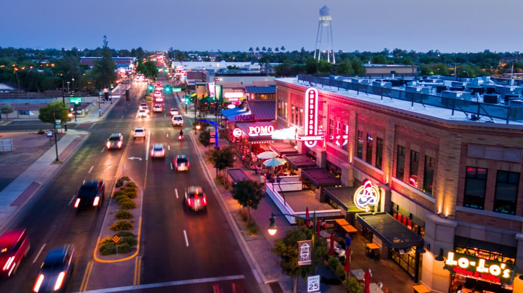 Downtown Gilbert at night