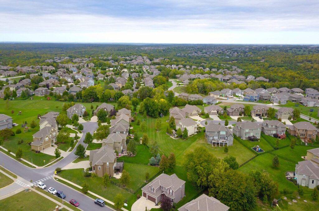 Aerial shot of housing development