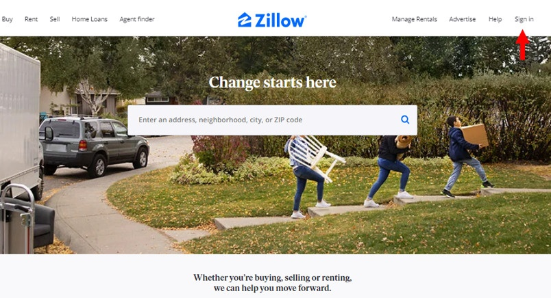 Create an account or sign in on Zillow