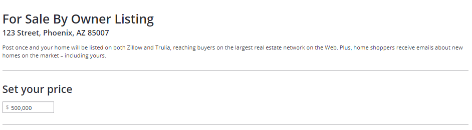 Setting your price on Zillow listing info