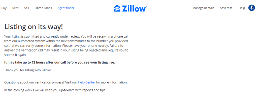 For Sale By Owner listing verification on Zillow